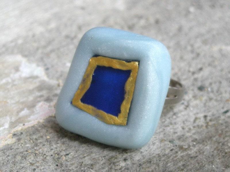 Голубая лагуна Полимерная глина и стекло Кольцо
