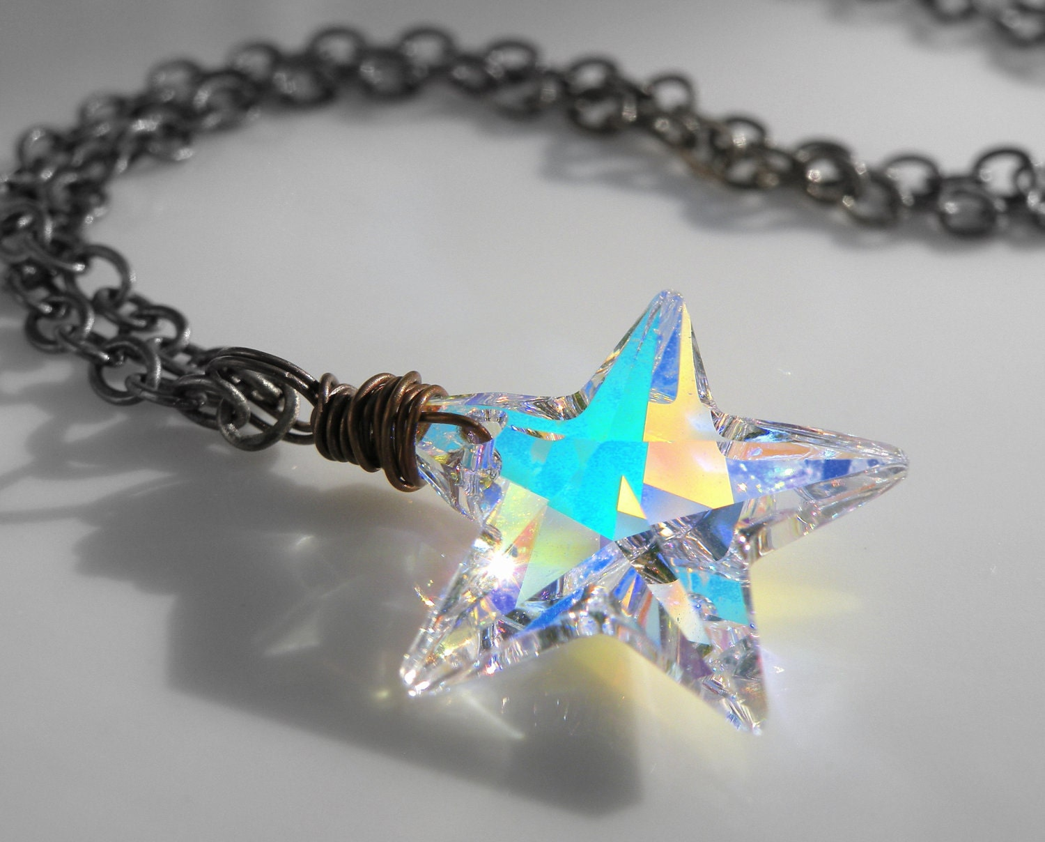Swarovski Star Crystal Necklace, Vintage Brass, Star, Wire Wrapped, Handmade