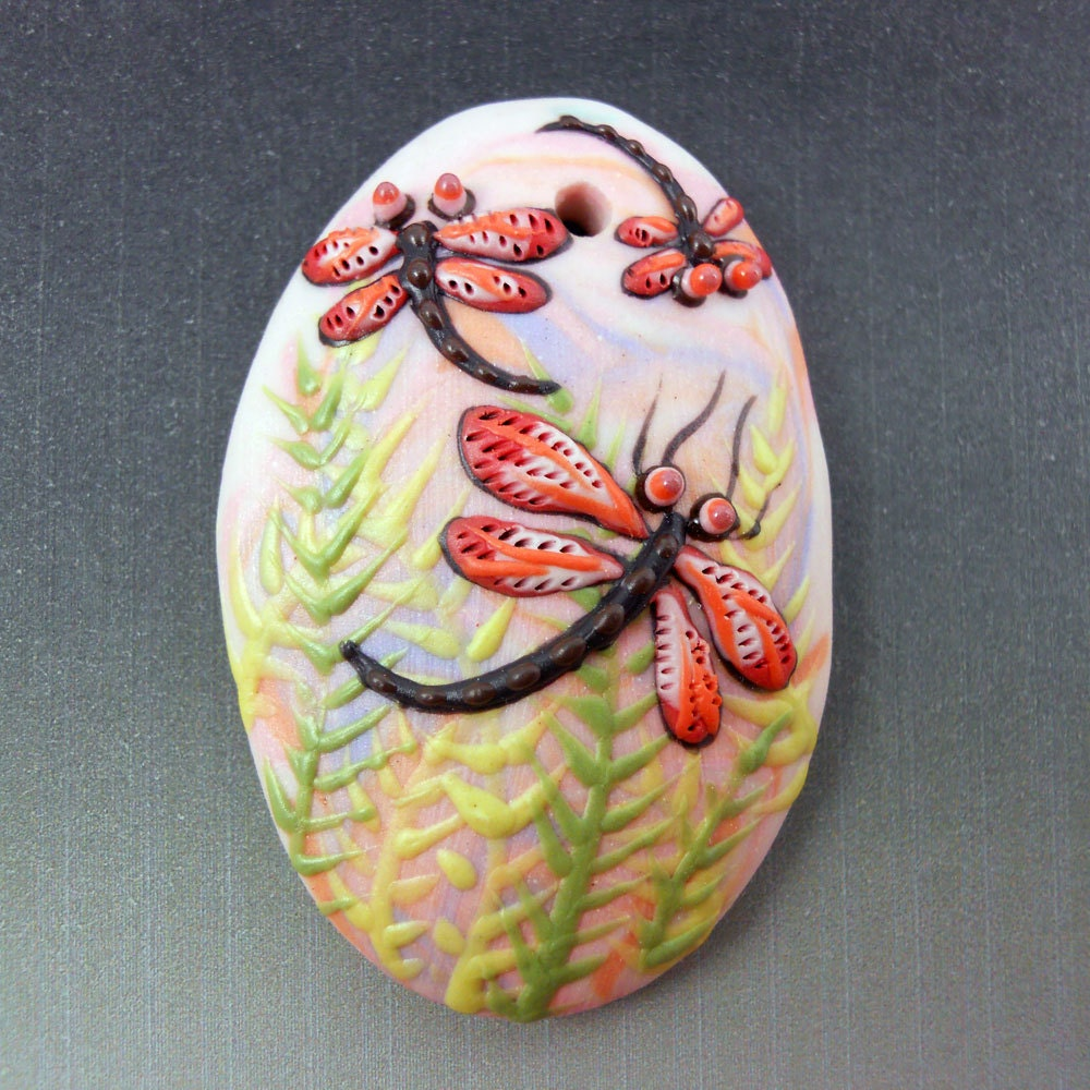 Dragonfly Fern Porcelain Pendant