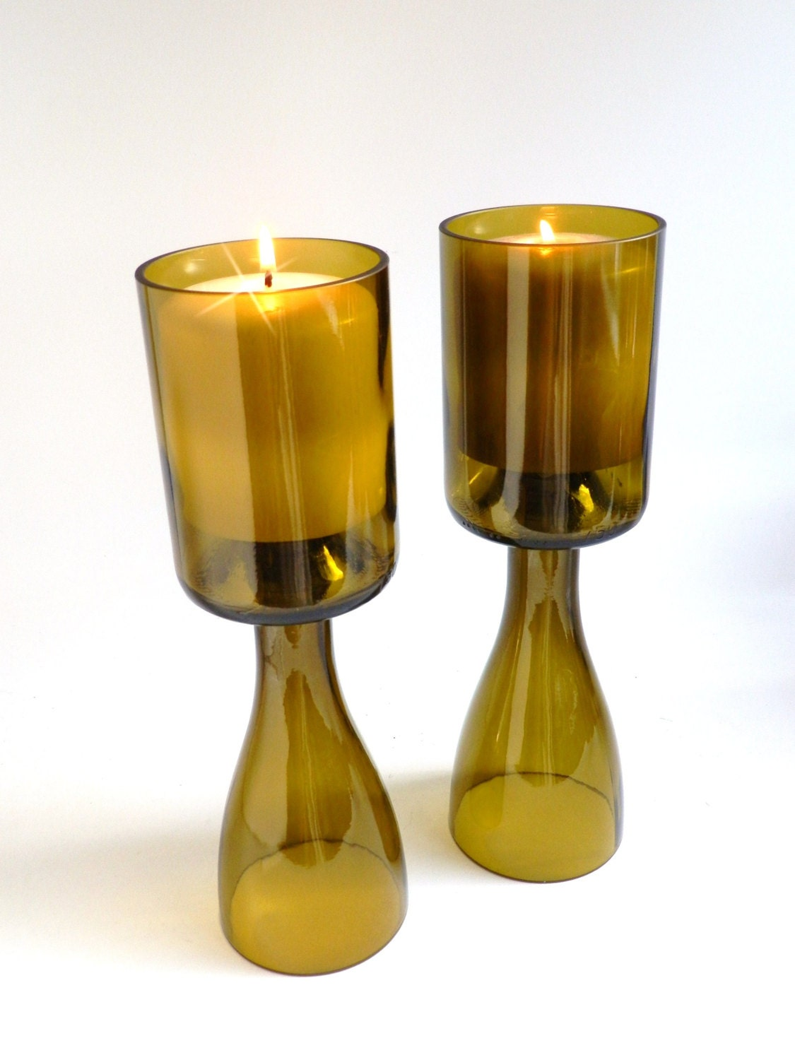 Gold Glass Wine Bottle Candle Holder Chalice By BoMoLuTra