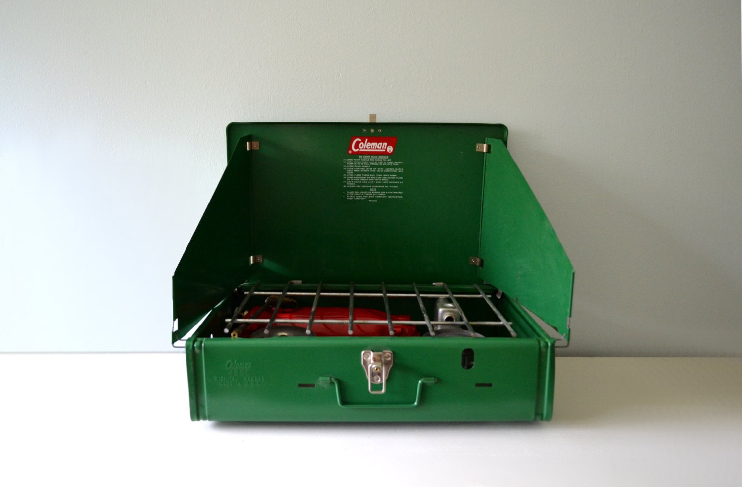 Vintage coleman stove 1970s camping stove 2 burner cooktop grill