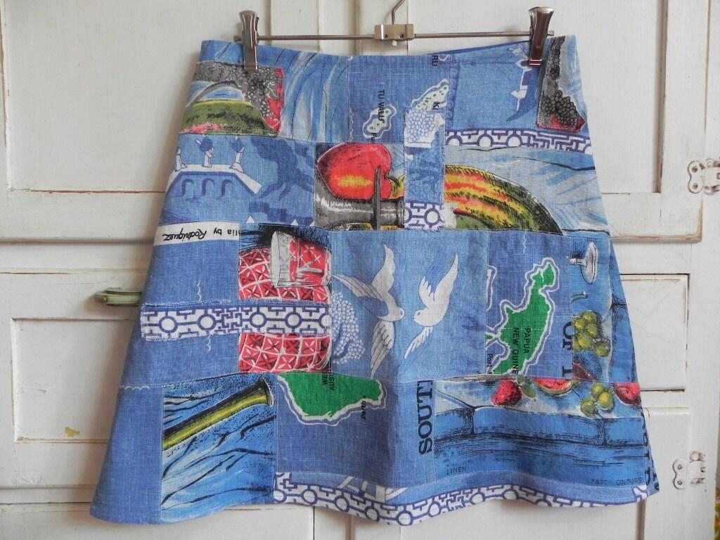 Upcycled Vintage Linen Tea Towel Patchwork A Line Womens Skirt Blue
