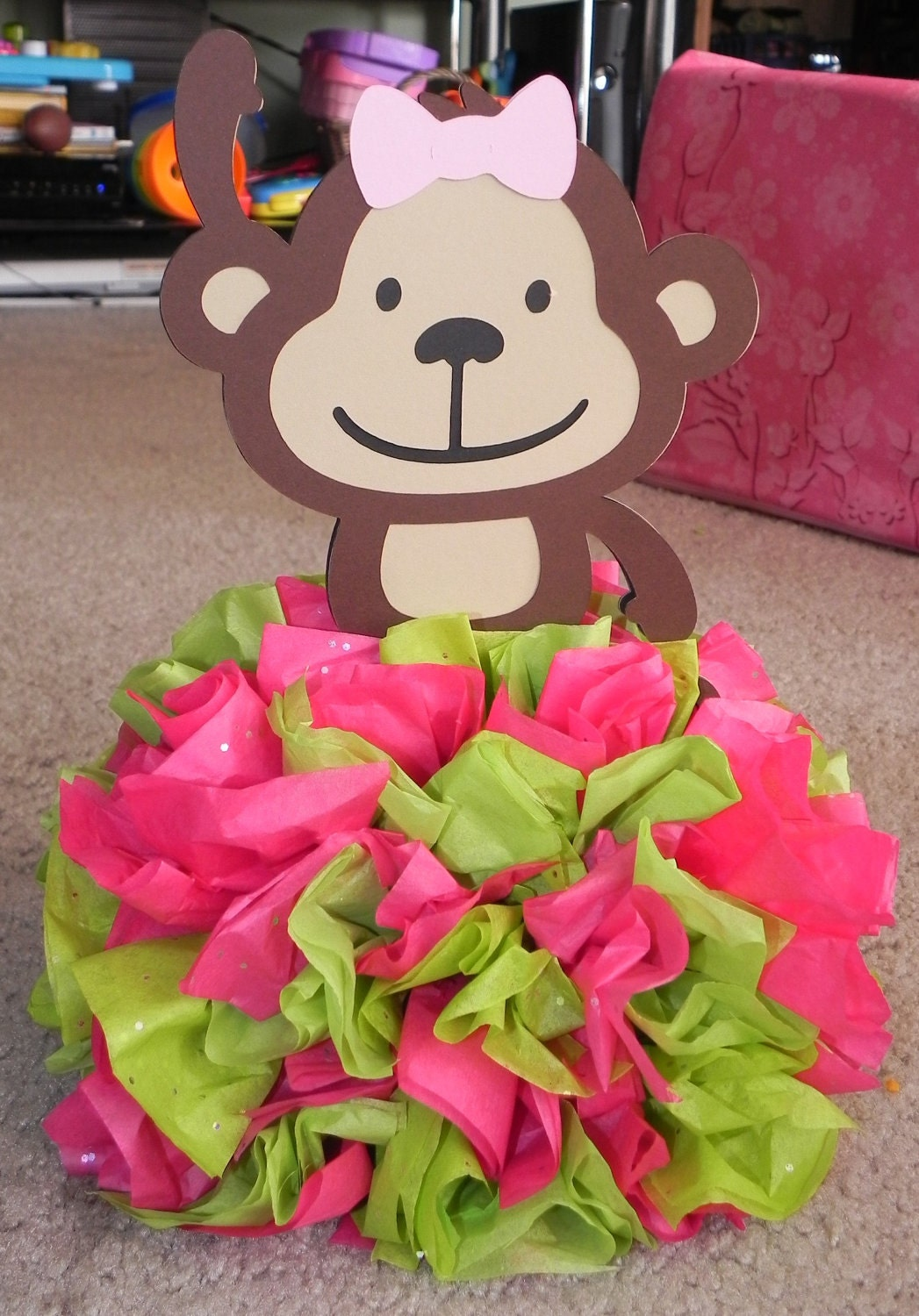 Mod monkey pink and lime green centerpiece by