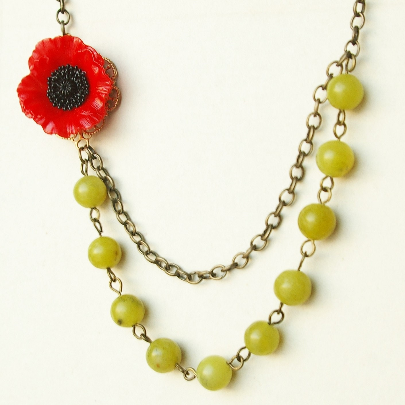 Pippa, Red Poppy and Pea Green Jade Necklace NEW