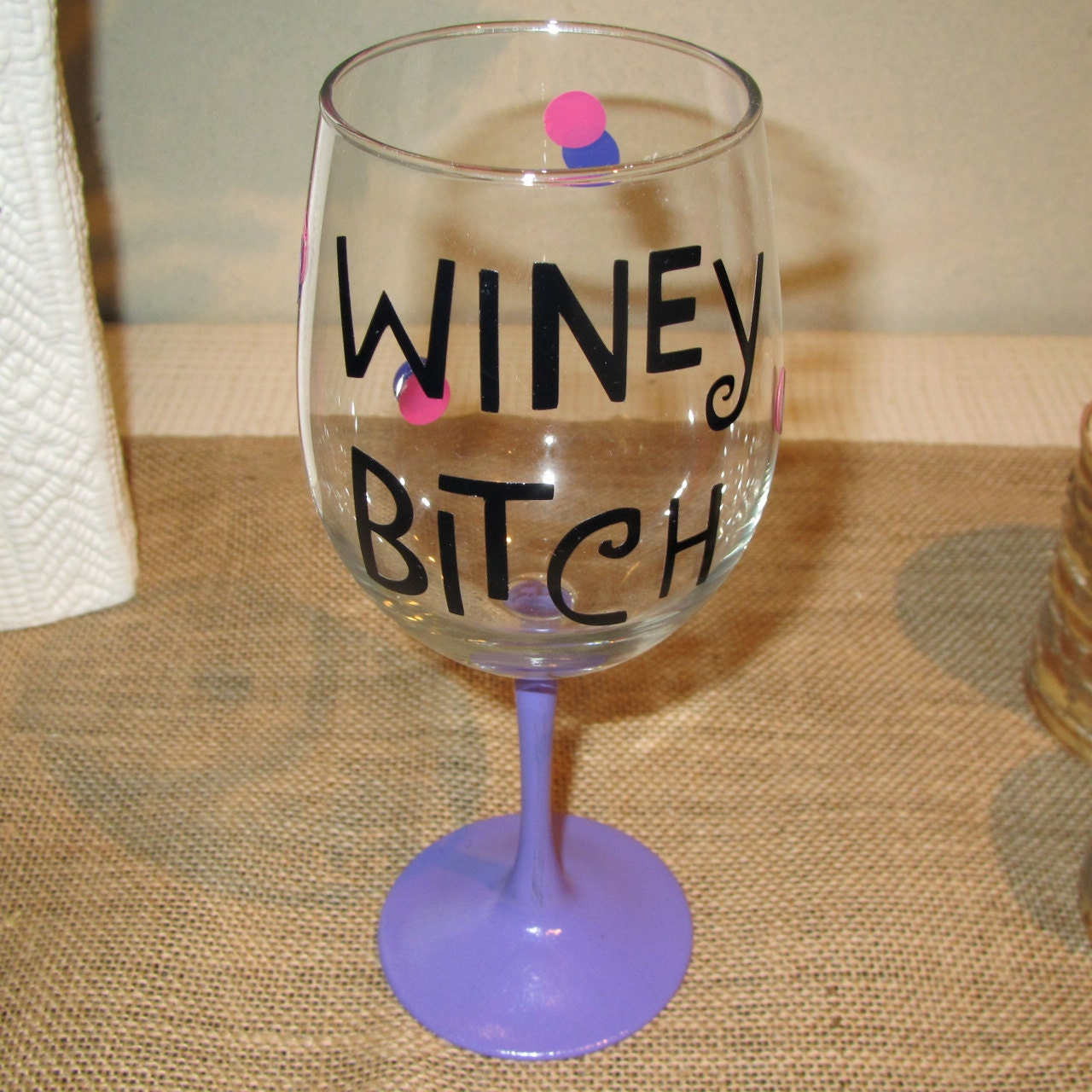 items similar to winey bitch painted   crafted wine glass  glasses on etsy