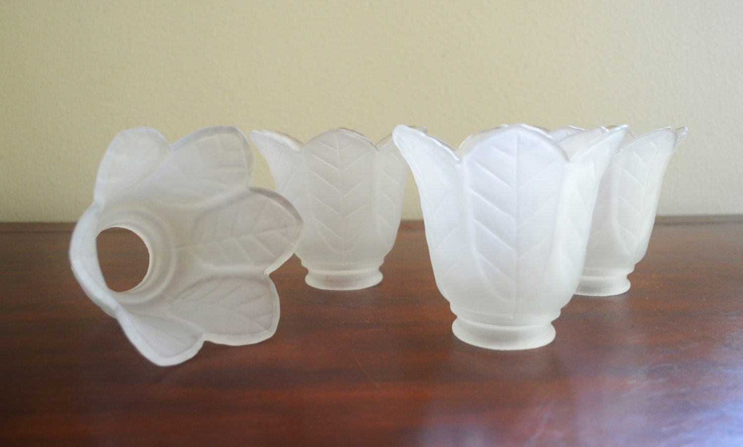 Set of 4 antique flower shaped frosted glass lamp shades - Flower shaped lamp shades ...