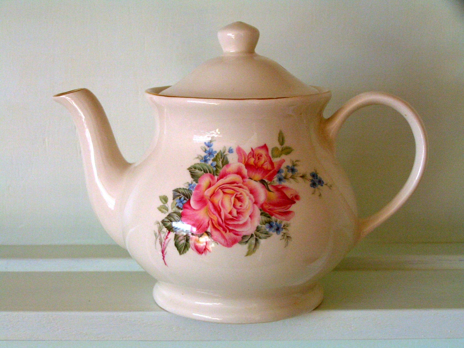 Sadler Teapot Pink Roses Made In England - English Country Cottage Style - noolys