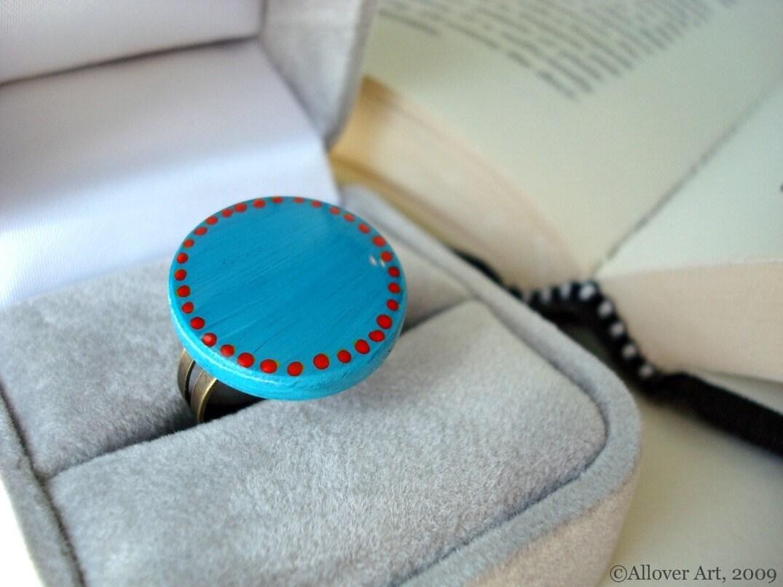 SALE - Ring Around The Rosies.  Handpainted Art Ring.