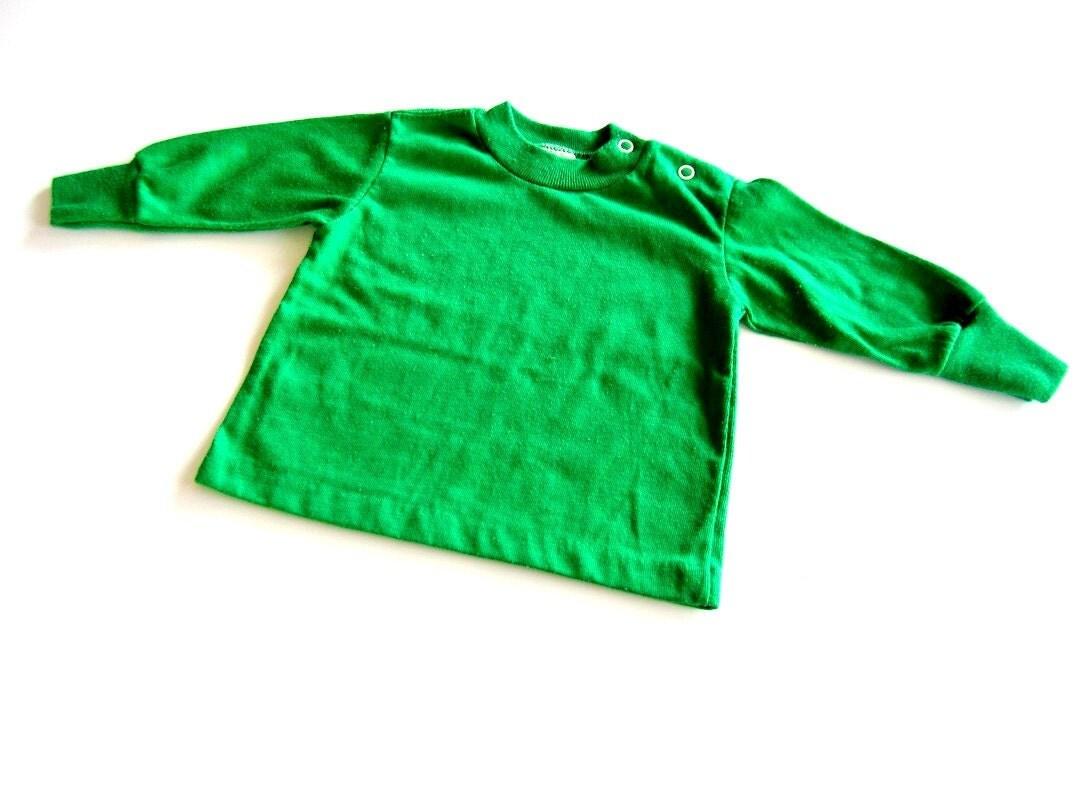 vintage shirt green long sleeved 12 months - OliversForest