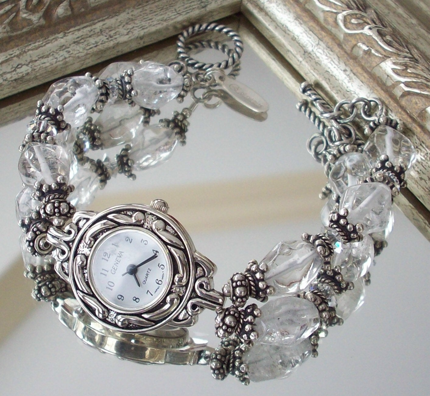 Etsy :: estanciadesigns :: Crystal Quartz Sterling Silver Double Strand Watch from etsy.com