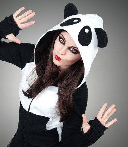 Hoodie Panda Fleece Ears Animal Kawaii Lolita Sweet by PaperCatsPL