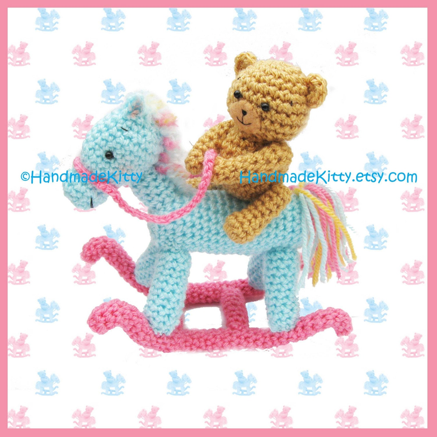 Handmadekitty Bear On A Rocking Horse Amigurumi Crochet Pattern By Handmadekitty