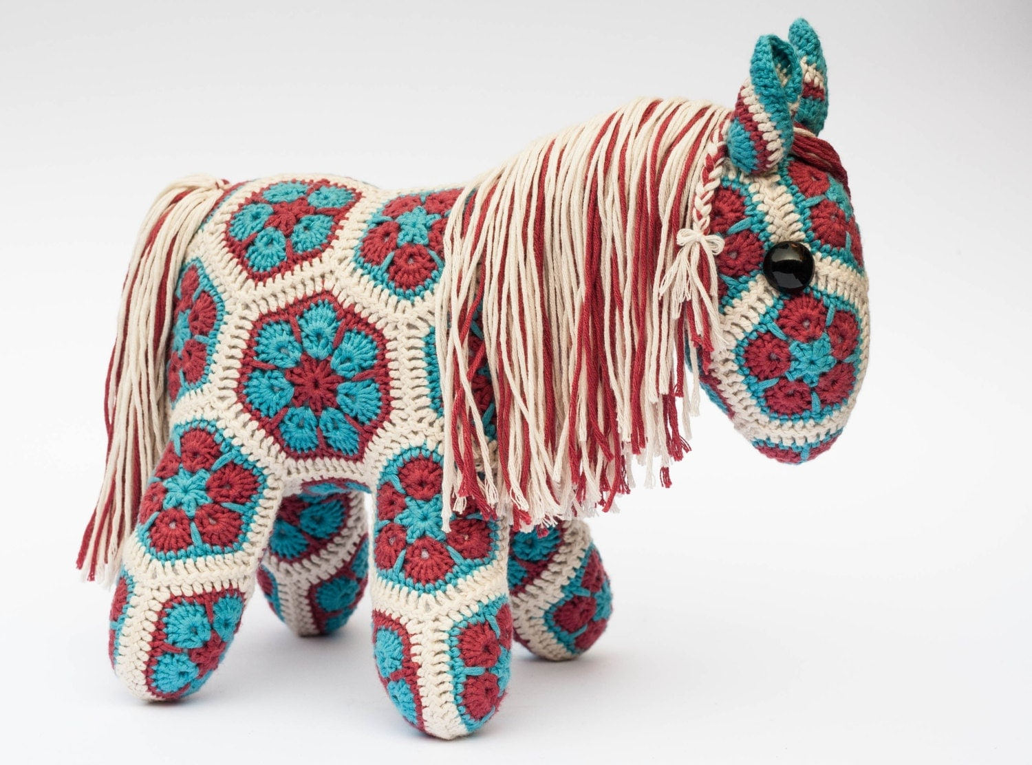 African Flower Pony Crochet Pattern : Crochet African Flower Pony Horse hand made in red by ...