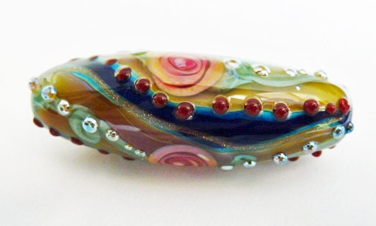 RESERVED The Fire Divas Team Treasury Givaway   Beautiful Jeweled Maui Rose on Lapis Blue with Double Helix Glass