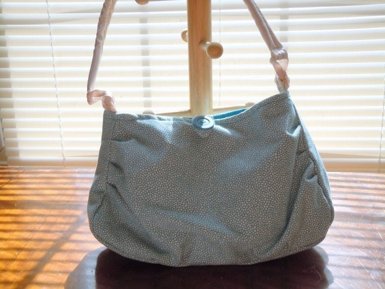 ON SALE! Handmade Purse in off-white and teal