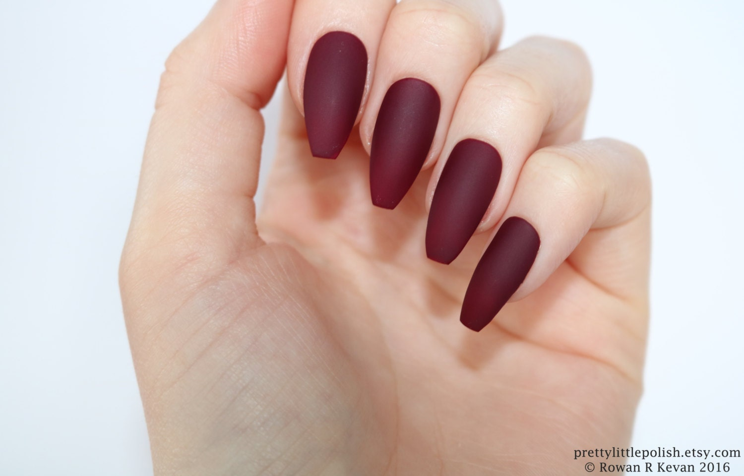 Wunderbar Gelnägel Bilder 2017 Dekoration Von Burgundy Coffin Acrylic Nails
