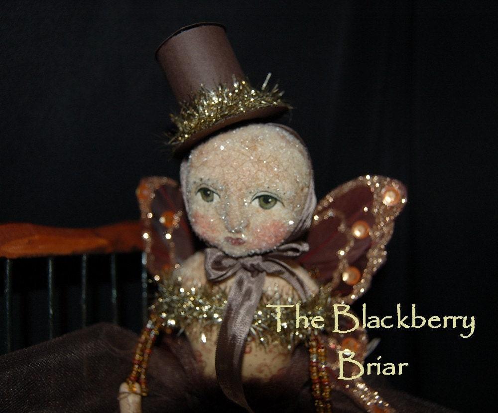 OOAK Folk Art Primitive Magical Winter Fairy Clay Doll ADO Team