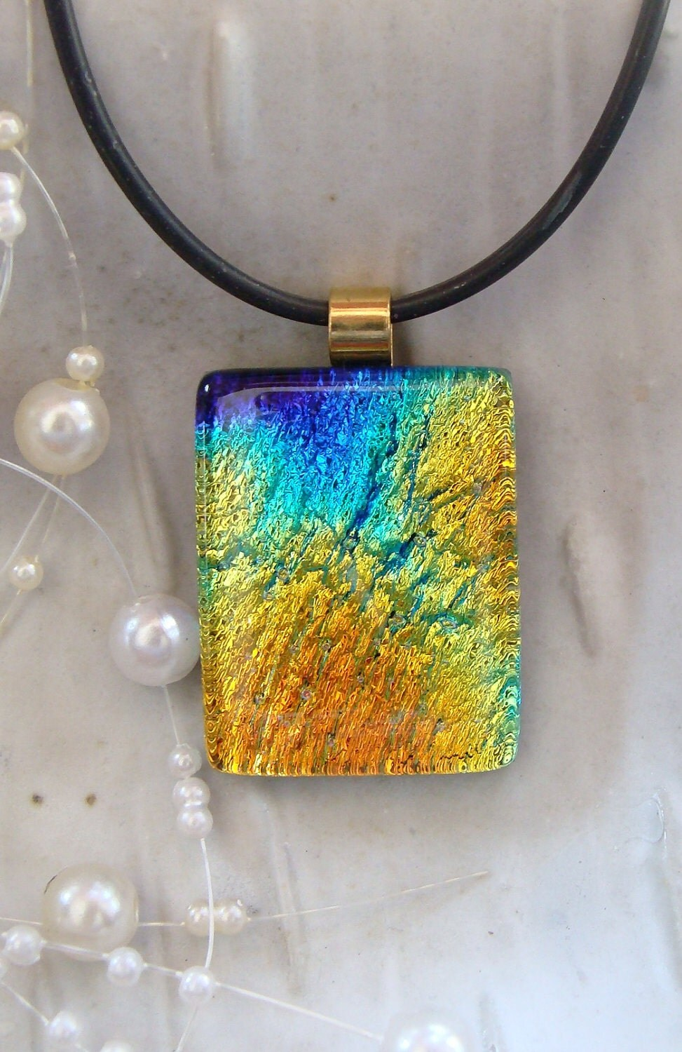 Dichroic Fused Glass Pendant, Yellow, Gold, Cobalt Blue, Aqua, Necklace Included - myfusedglass
