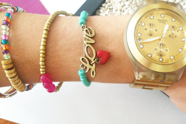 Dainty Turquoise Beads Love Charm Bracelet - TrinketsOnline