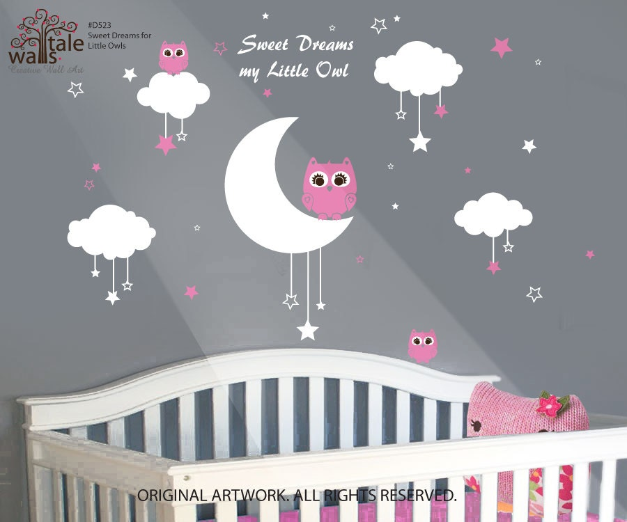 nursery wall decals baby owls for sweet dreams by. Black Bedroom Furniture Sets. Home Design Ideas
