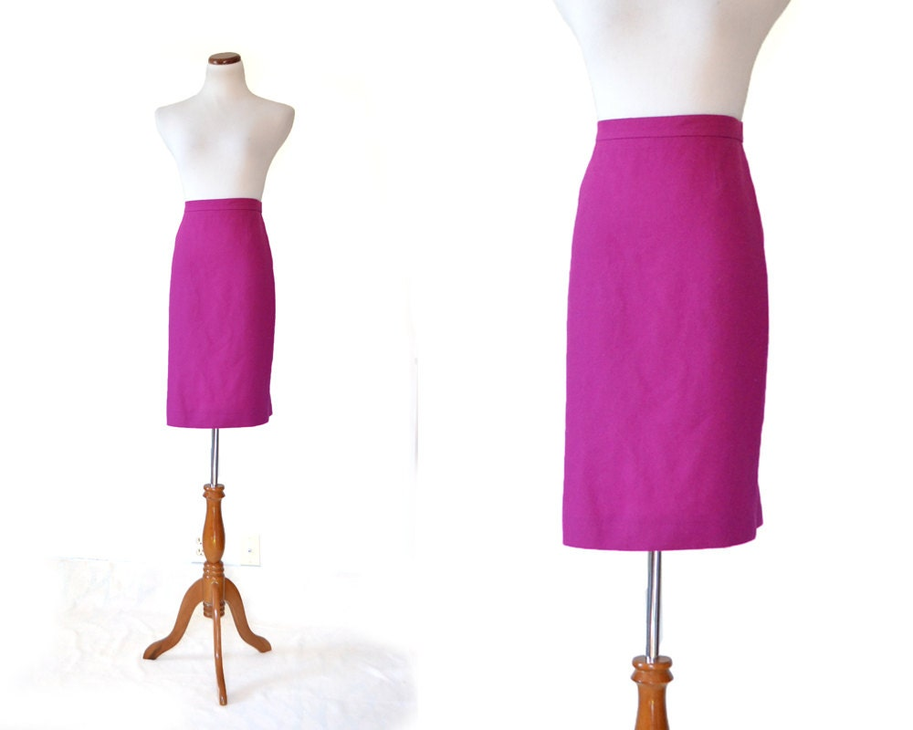 fuschia pink skirt pencil skirt 80s skirt by