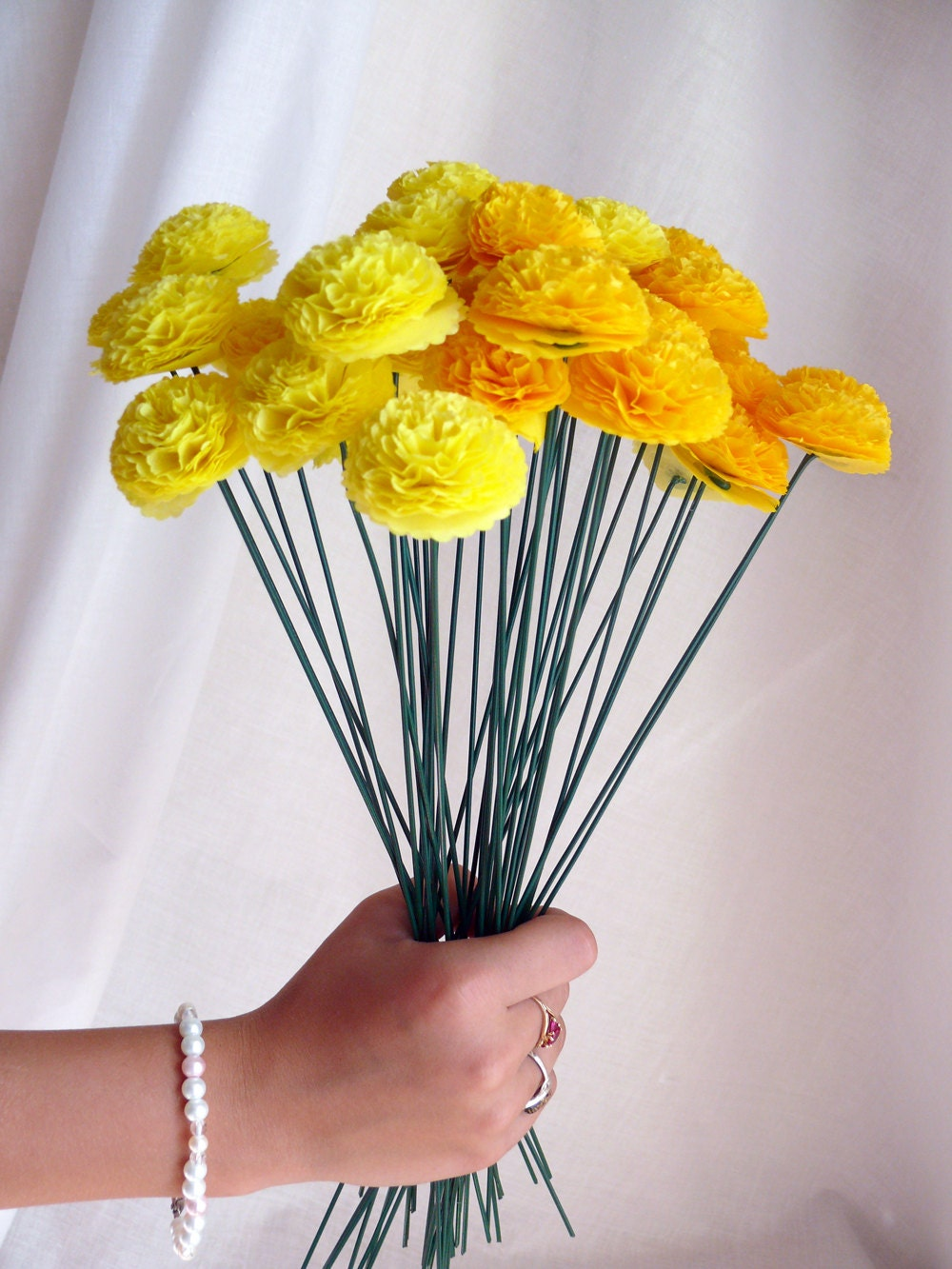 Button Bridal Bouquet Etsy : Button mums tissue paper flower bouquet wedding by zobedesigns