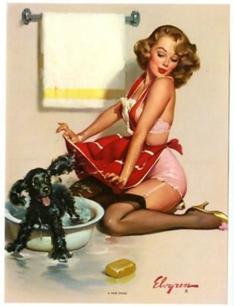 pin up girl giving puppy a bath for cross stitch pattern sewing