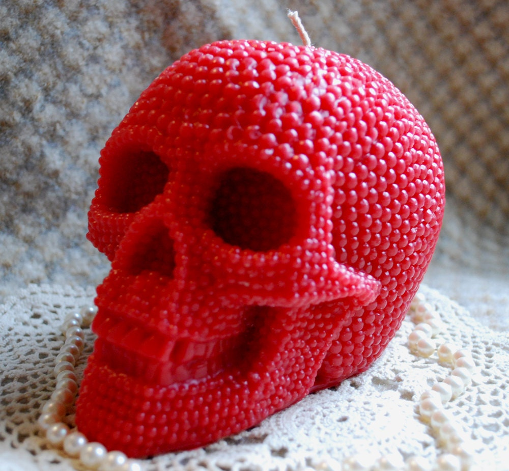 Beeswax Candle BIG Skull Shaped Candle in Red