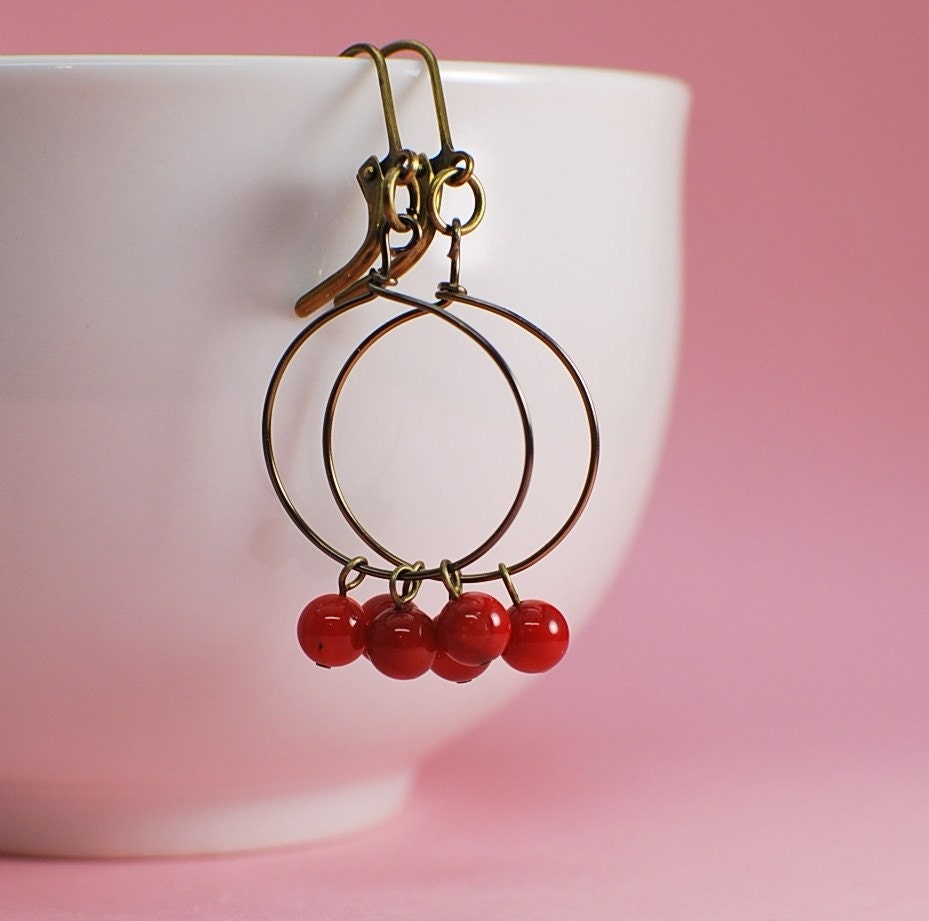 Earrings, Red Coral Cranberry Dangle, Delicate Beads, Antique Gold Circle Hoop