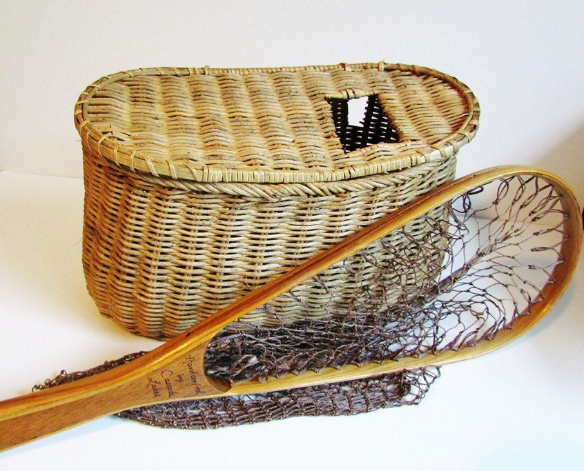wicker creel fishing basket woven fisherman 39 s by bpvintage