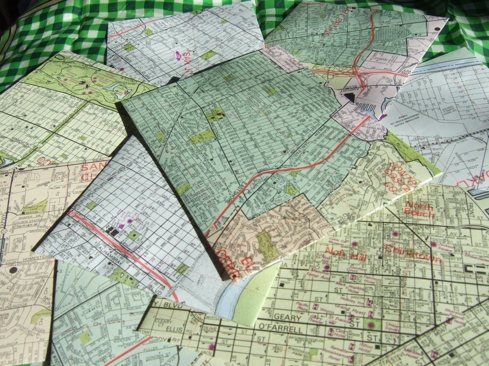 Set of 15 recycled map envelopes