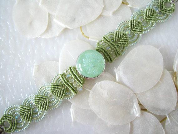 Peridot Micro Macrame Bracelet with Dichroic Glass BL0024 - GetGlassy