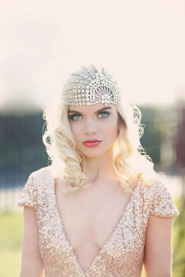 """10% OFF TODAY ONLY with code """"gib10"""" Lujon - Crystal Art Deco 1920's Tulle Headpiece"""