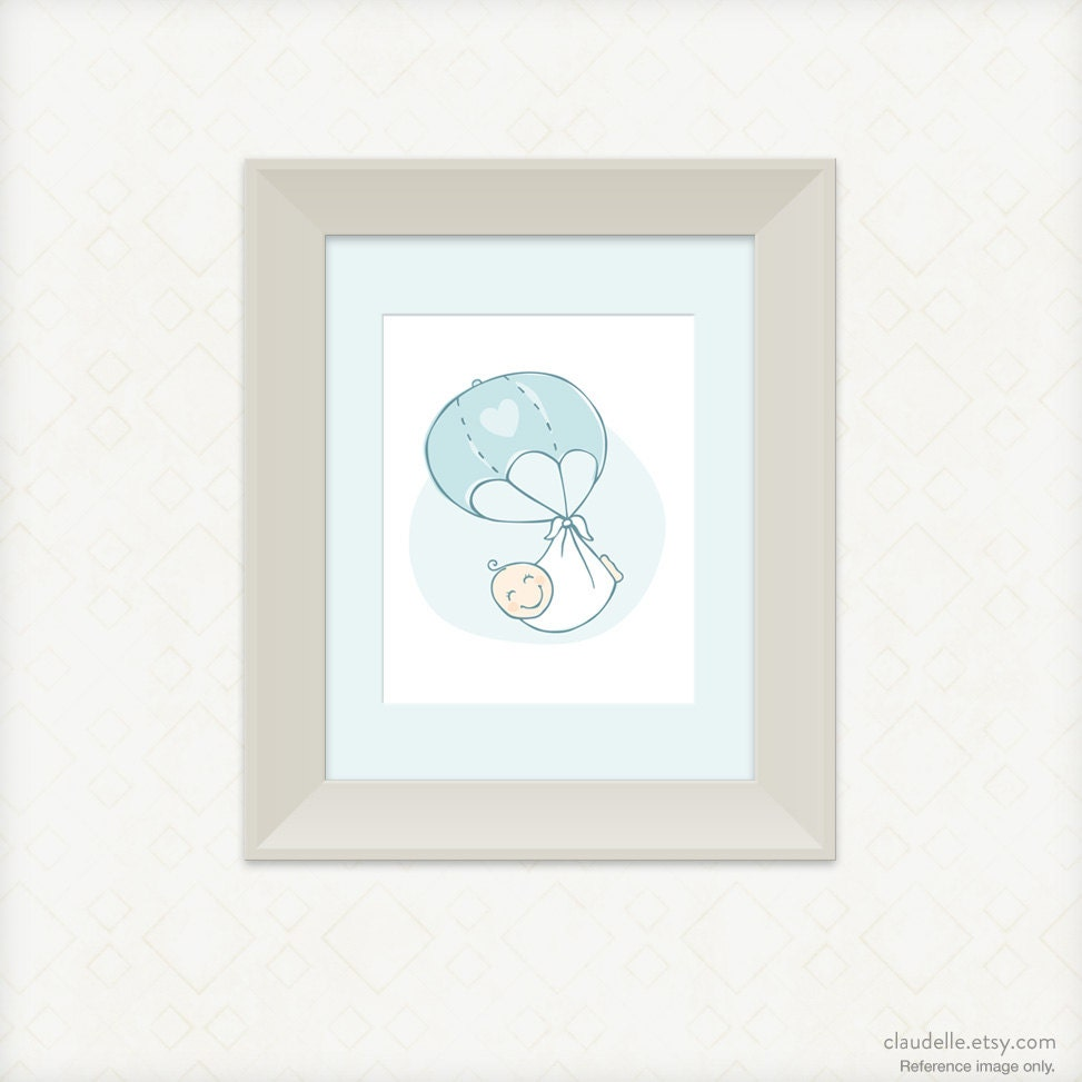 8x10 Art Print for Nursery - Welcome baby boy! - claudelle