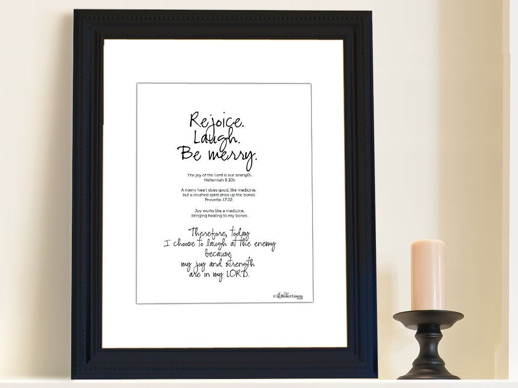 Christian art Rejoice Laugh typography print by LilStinkerDesign