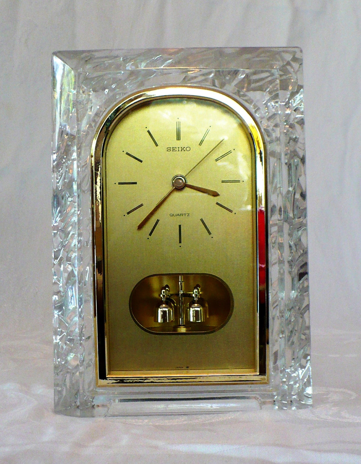 Seiko Mantel Clock Lead Crystal Rotating By Rescuedobjects