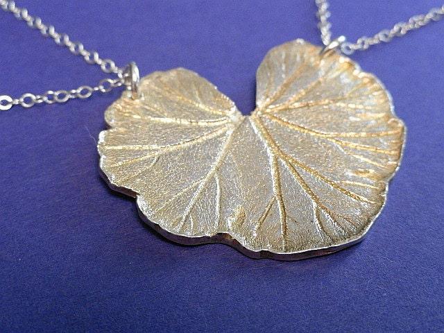 OOAK Botanical Fine Silver Geranium Leaf Pendant