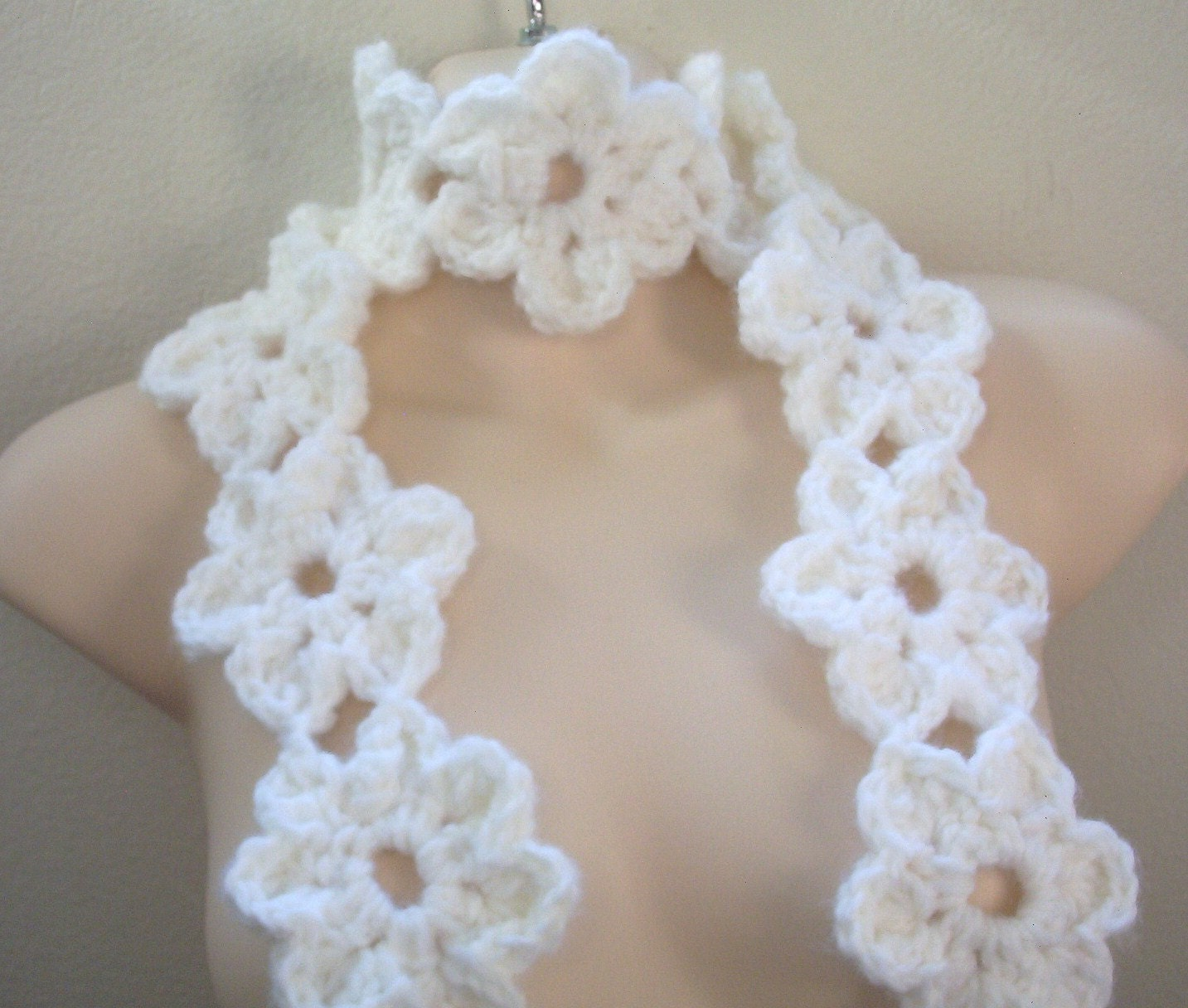Items Similar To Pattern, Crochet Flower Scarf On Etsy