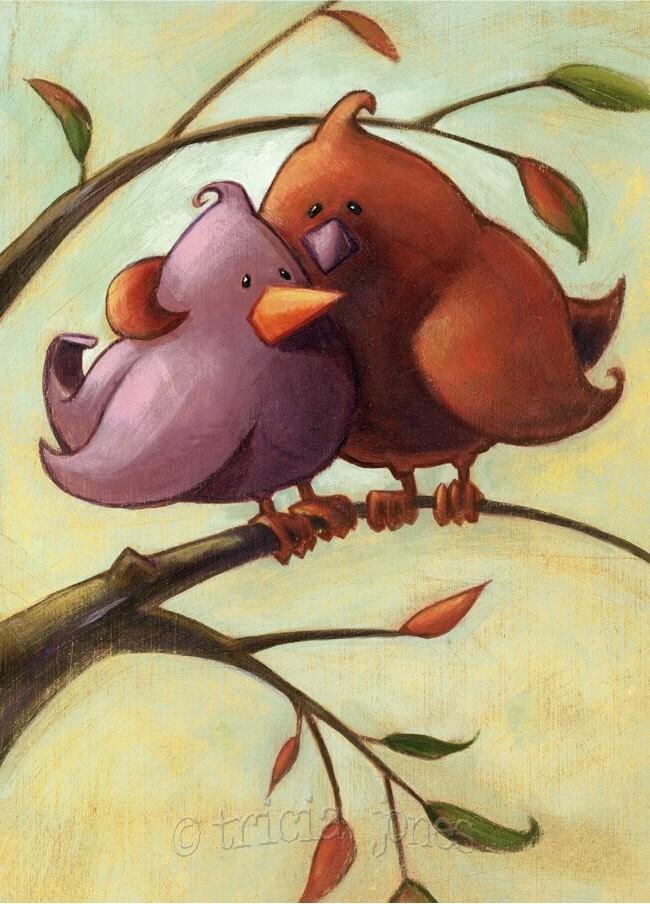 5x7 print, Love Birds nestled in a tree