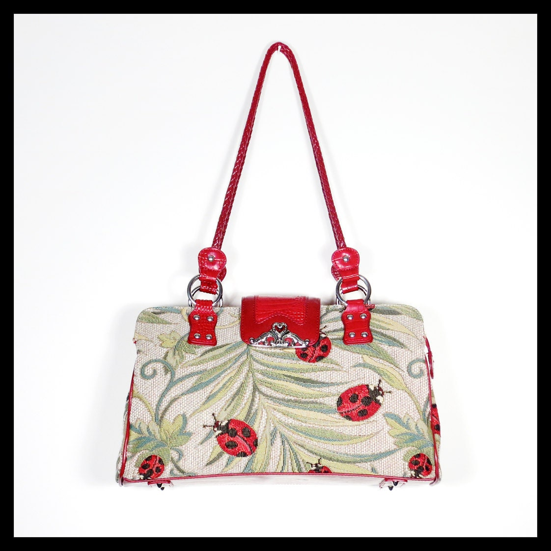 Ladybug Tapestry & Leather bag Marc Chantal by SalonDesMuses