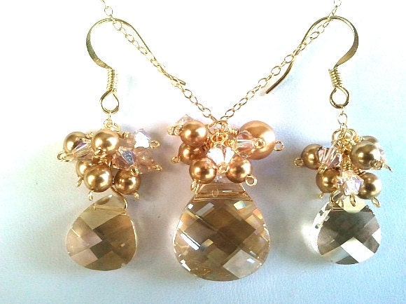 Spring Collection Golden Shadow Necklace & Earrings Set - Bridal Gift, Jewelry Gift, Friend Gift