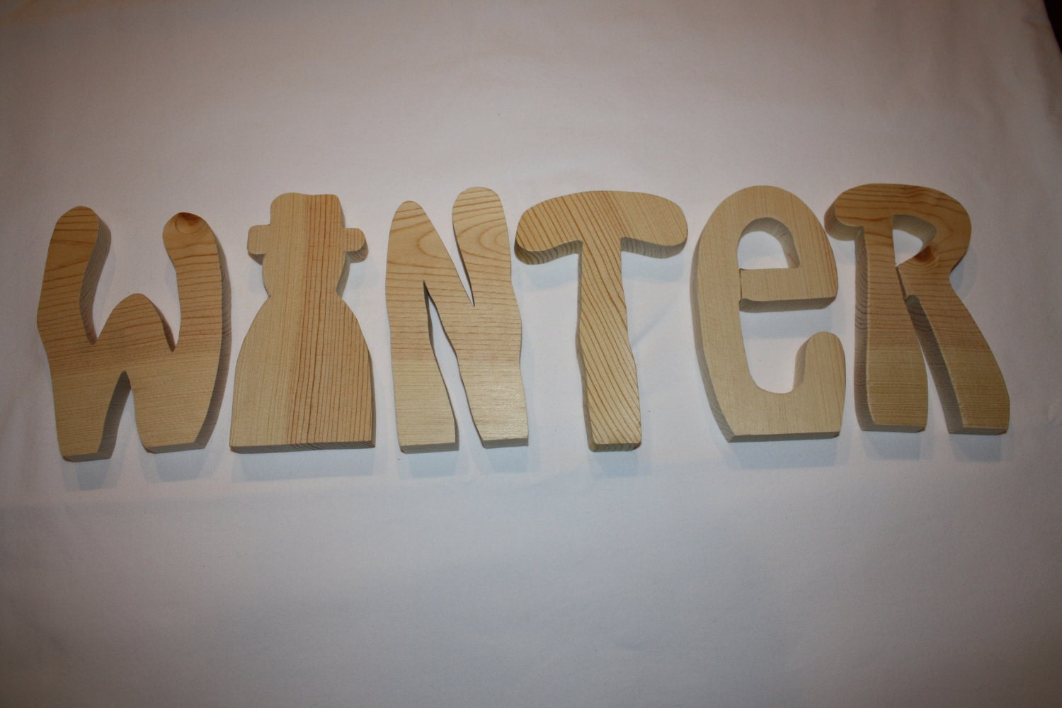 "Winter unfinished wood word to decorate you home for the season (6"" tall)  small winter"