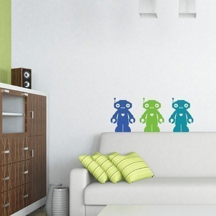 Set of 3 Colorful Robot Decals (Green, Blue and Turquoise)