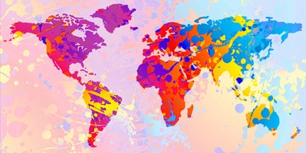 Small Colorful World Map Fine Art Poster gift ideas by hhprint