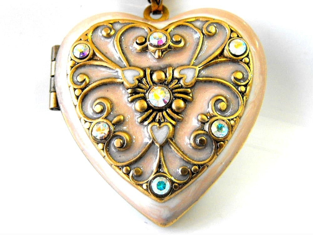 Swarovski Beige Heart Locket by RotsinaCreations on Etsy : baby shower pearl