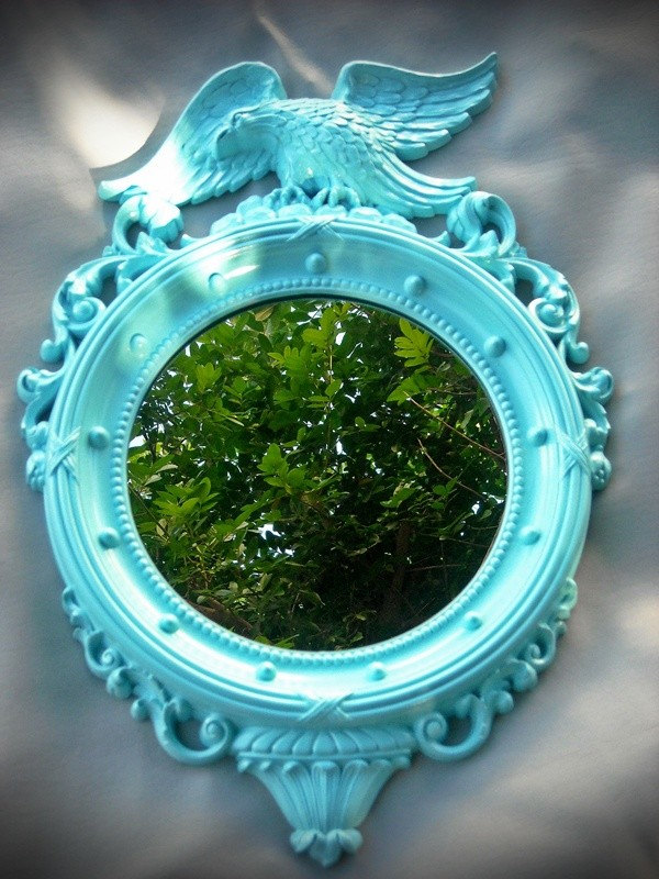 Vintage Mirror Aqua Ornate French Eagle Beach Seaside Cottage Round Upcycled Blue
