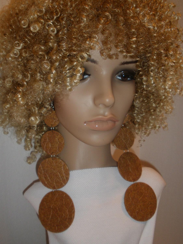 Attractive Long Dangling Tan Felt Fabric Earrings, Ladies Earrings, Women Earrings, Fashion Earrings