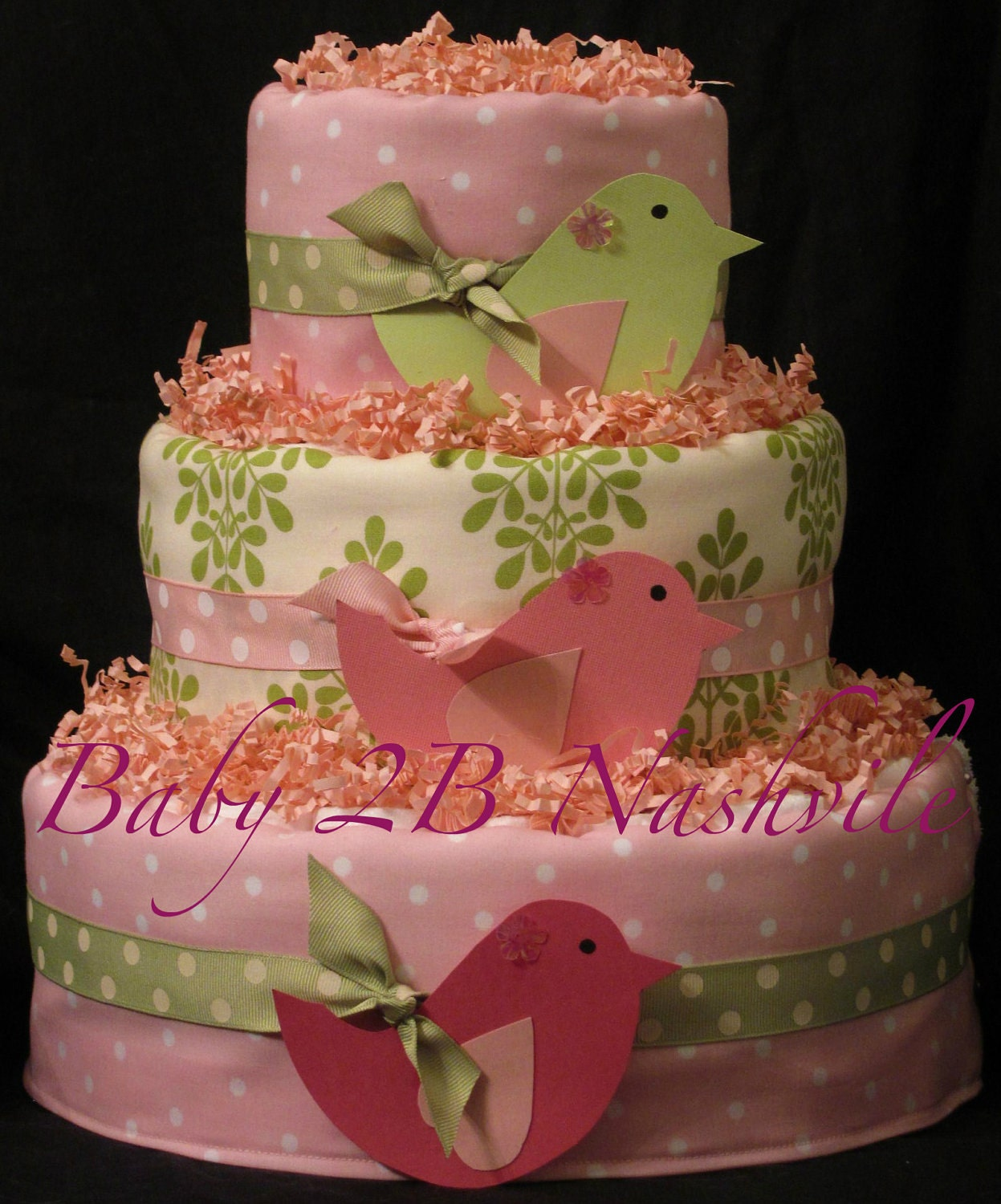 Baby Showers Nappy Cakes ~ Diaper cake for girls in little birds pink and by