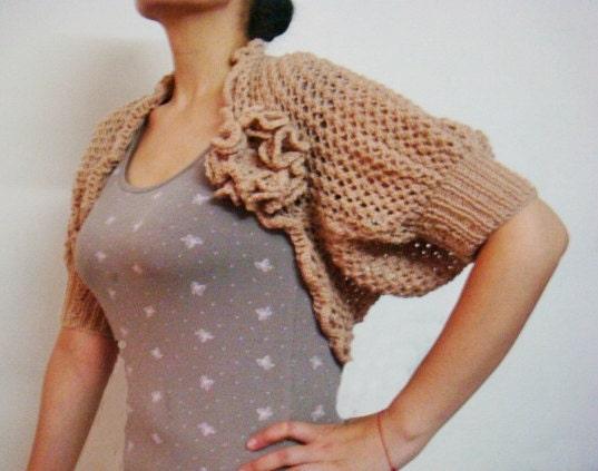 Knitting Pattern For Lace Bolero : Knitting Pattern Lace Shrug Bolero Knit Flower by PATTERNSbyFAIMA