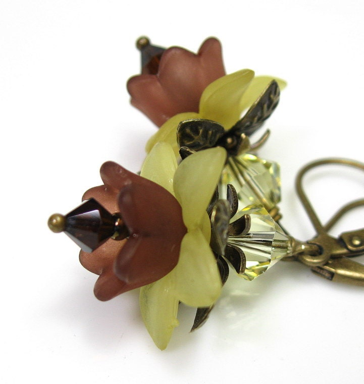 Mocca Jonquil Swarovski and Lucite Sunflower Earrings